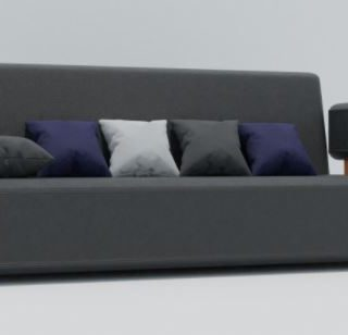 SF01-034 -3 seater blue +5 cushion